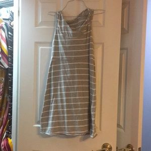 Sporty hooded gray and white striped dress